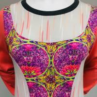 Farbenfroher Designer Pulli -Eco Fashion Art Print *Seerose*Pink-100% Biobaumwolle -Sweatshirt Kleid Langarm hochwertig Bild 4