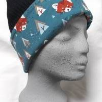 Damenmütze Beanie aus schwarzem Baumwoll-Strick, komplett gefüttert mit weichem Baumwolljersey mit Fuchs-Muster in blau Bild 1