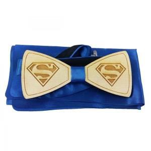 Holzfliege Schleife Fliege Herrenfliege aus Holz mit Superman Muster Bild 1