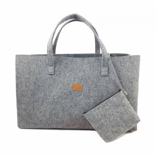 Big Shopper große Damentasche Handtasche Einkauf Henkeltasche Schultertasche Filztasche vegan vegie Tasche grau