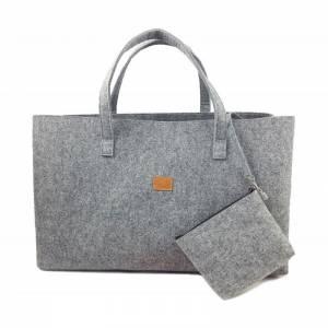Big Shopper große Damentasche Handtasche Einkauf Henkeltasche Schultertasche Filztasche vegan vegie Tasche grau Bild 1