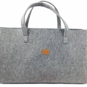 Big Shopper große Damentasche Handtasche Einkauf Henkeltasche Schultertasche Filztasche vegan vegie Tasche grau Bild 2