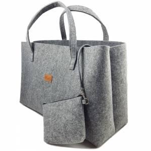 Big Shopper große Damentasche Handtasche Einkauf Henkeltasche Schultertasche Filztasche vegan vegie Tasche grau Bild 3