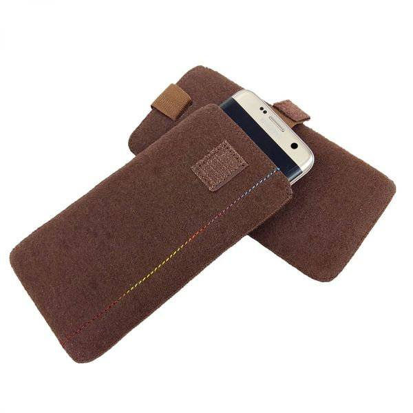 5 - 6,4 Zoll Universell Tasche Hülle Schutzhülle aus Filz für Smartphone Braun Bild 1
