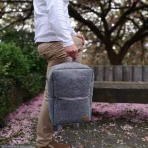 """Rucksack Filzrucksack Filztasche Tasche aus Filz für 13 - 15 """"  MacBook Laptop Notebook grau Bild 1"""
