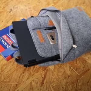 """Rucksack Filzrucksack Filztasche Tasche aus Filz für 13 - 15 """"  MacBook Laptop Notebook grau Bild 2"""