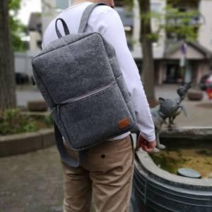 """Rucksack Filzrucksack Filztasche Tasche aus Filz für 13 - 15 """"  MacBook Laptop Notebook grau Bild 3"""