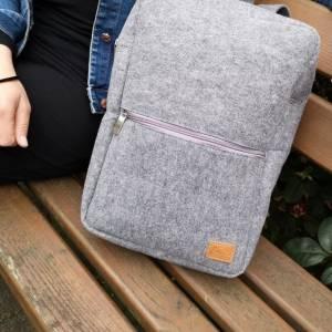 """Rucksack Filzrucksack Filztasche Tasche aus Filz für 13 - 15 """"  MacBook Laptop Notebook grau Bild 4"""