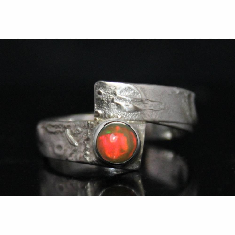 Unikat Opalring - kunstvoller Silberring mit top Opal - handgemacht aus 925er Silber - Designerstück Goldschmiedering Bild 1