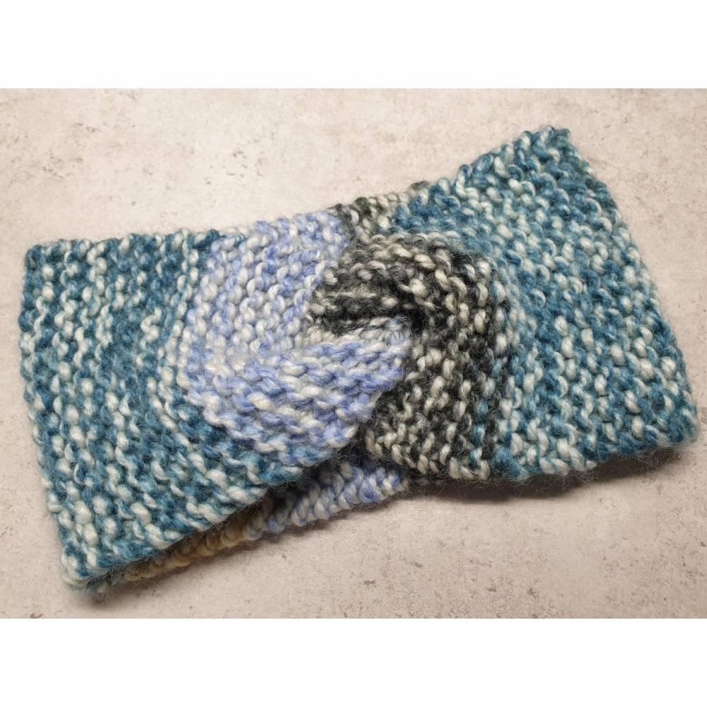 Twist-Stirnband, gestrickt, blau/ camel Bild 1