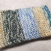 Twist-Stirnband, gestrickt, blau/ camel Bild 2