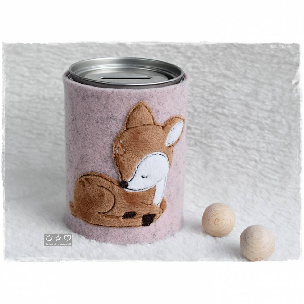 Spardose mit bestickter rosa Filzhülle 'Reh' und auf Wunsch Name Bild 1