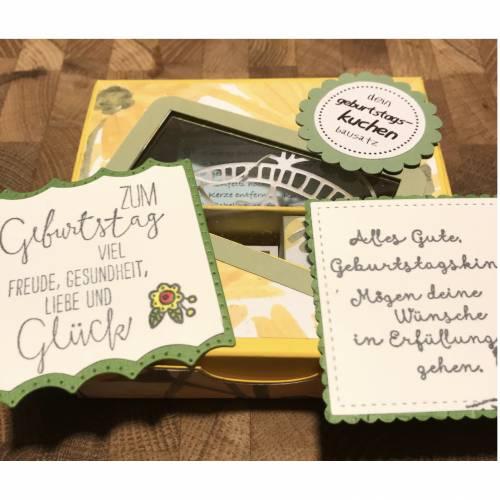 Geburtstagskuchen-Bausatz mit Konfetti, Kerze + Spitzendeckchen für den Geburtstagskuchen To Go - Delightful Daisy Gelb