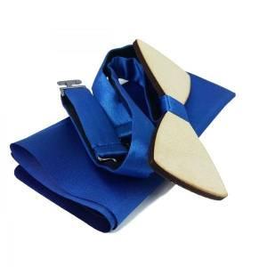 Holzfliege Schleife Fliege Herrenfliege aus Holz Blau Bild 2