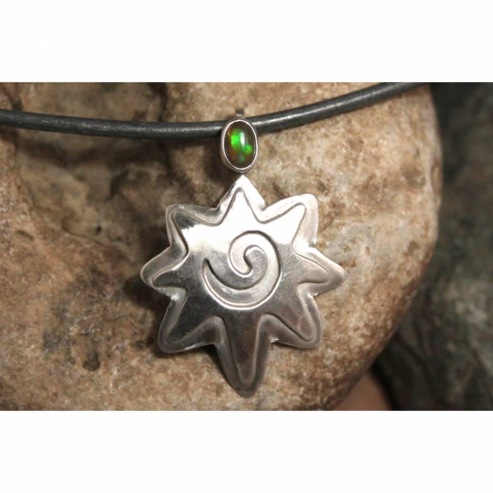 Opalanhänger / Silberanhänger / Anhänger mit Opal - 925 Silber -  für Halsketten / Colliers - Designerstück Ethno Hippie Bild 1