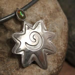Opalanhänger / Silberanhänger / Anhänger mit Opal - 925 Silber -  für Halsketten / Colliers - Designerstück Ethno Hippie Bild 2