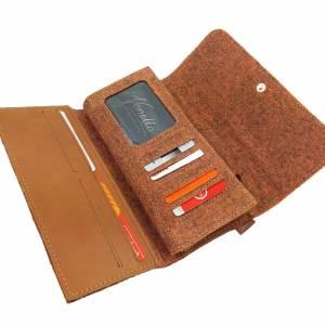 Venetto Portemonnaies Geldbörse Geldtasche Filz und Leder orange Bild 3