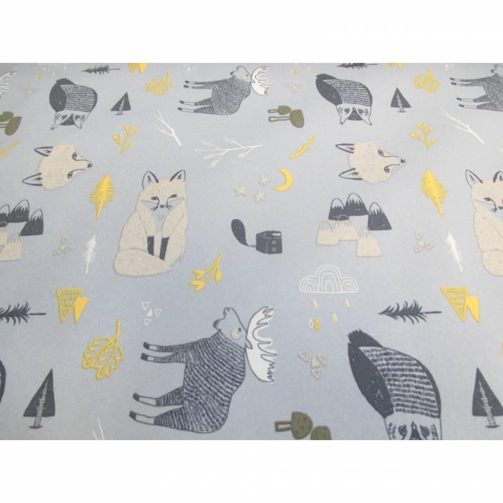 Rest:1,40 m x 1,48m Softshell  mit Fleece -  Abseite , kleine Waldtiere auf rauchblau( 1m/12,86€ ) Bild 1