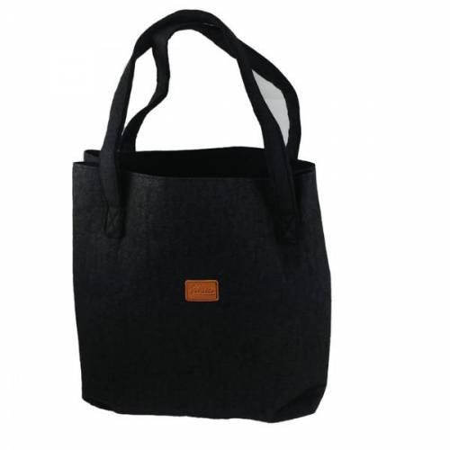 Shopper Damentasche Handtasche Einkaufstasche Tasche Henkeltasche Filztasche mit integrierter Geldbörse schwarz