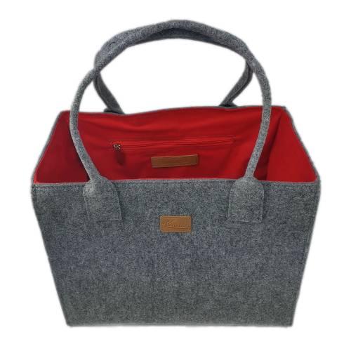 Einkaufstasche Damentasche Shopper Tasche Damen Hänkel-Tasche Handtasche Korb grau rot