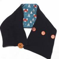 Wende-Schal aus schwarzem Baumwoll-Strick, komplett gefüttert mit weichem Baumwolljersey mit Fuchs-Muster in blau Bild 1