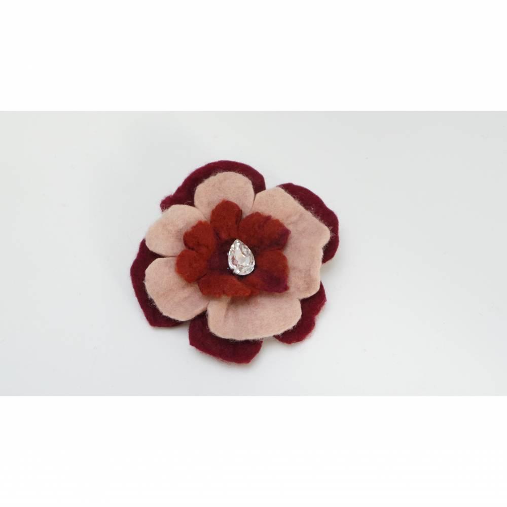handgefilzte Brosche als Anstecker für Kleid oder Pullover, Mantel- oder Hutbrosche, Broschennadel Bild 1