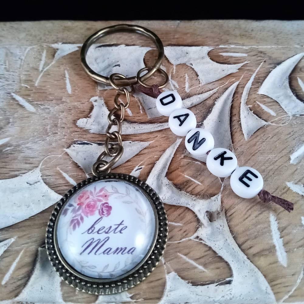Schlüsselanhänger Cabochon 20mm beste Mama Danke Bild 1