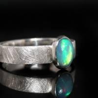 Opalring / Silberring mit Top Opal - Designerstück aus 925 Sterling Silber - Handgefertigt Bild 3