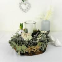 Tischdeko mit Naturkranz, Winterdeko, Windlicht, Tischkranz, Wohndeko, mit echter Hyazinthe, Herz Bild 1