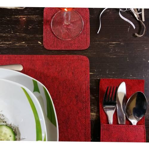 2-er Tischset Untersetzer  Tischdekoration Platzset Platzmatten Bestecktaschen Tischdecken Tischdeko aus Filz, Rot melie
