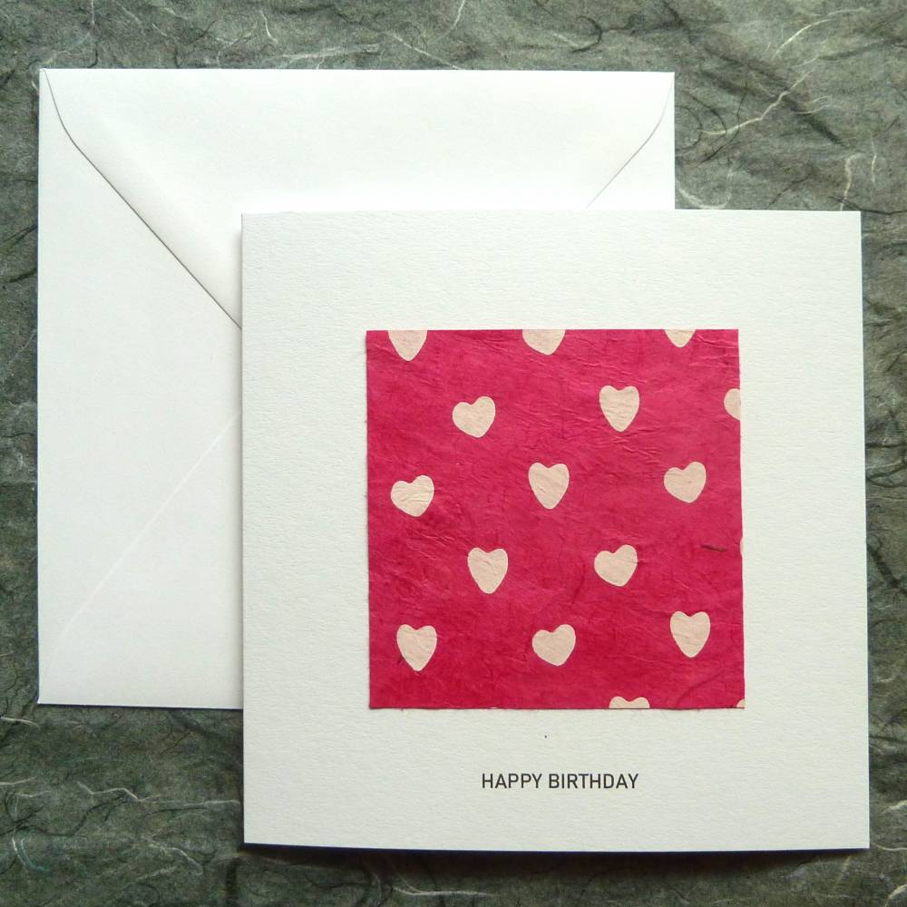 Minimalistische Geburtstagskarte Herzen Bild 1