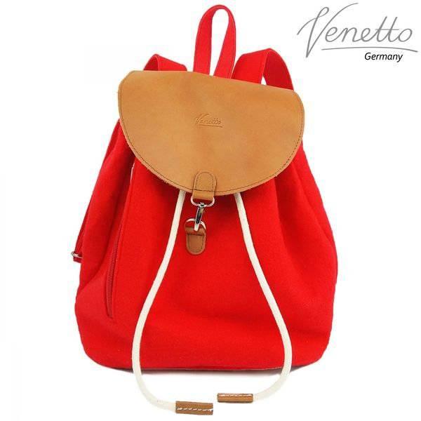 Filzrucksack Tasche Rucksack aus Filz und Leder Elementen sehr leicht backpack unisex Filztasche Rot Bild 1
