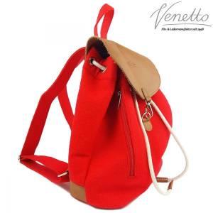 Filzrucksack Tasche Rucksack aus Filz und Leder Elementen sehr leicht backpack unisex Filztasche Rot Bild 3