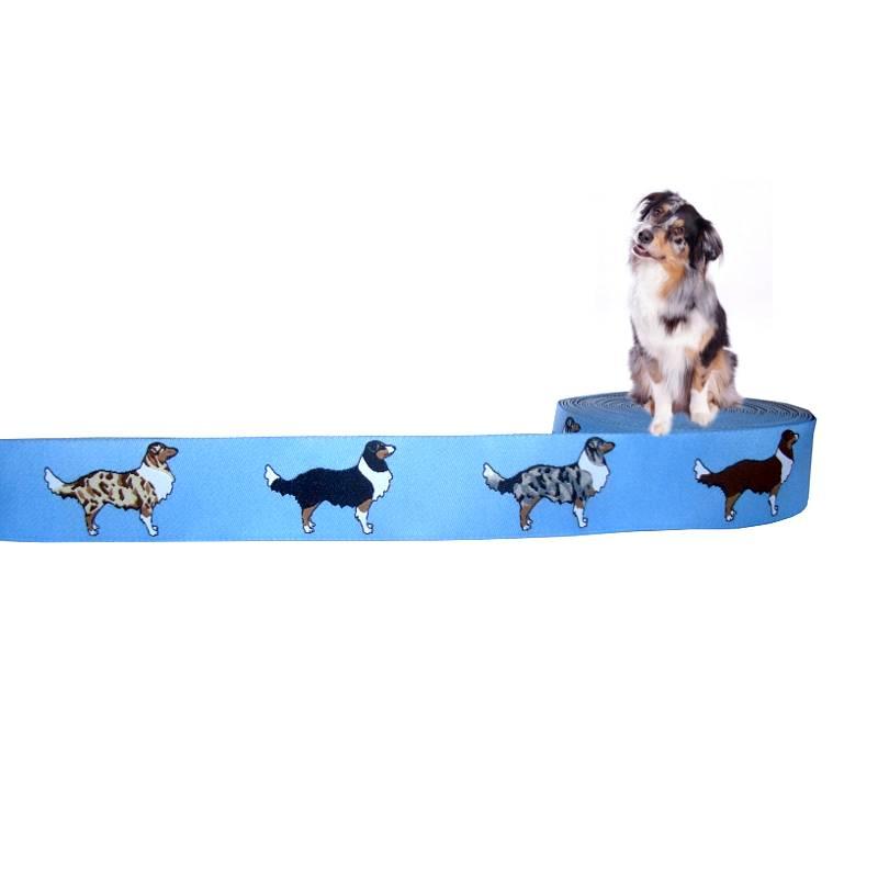 "Webband Hund ""Australian Shepherd"" Borte, 20mm, blau, Hunde, Aussieborte, 1 Meter Bild 1"
