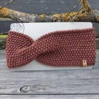 Stirnband mit Twist handgestrickt - Wolle (Merino) - zimt Bild 1