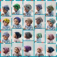Mütze zum Wenden für 6-12 Monate / Kopfumfang 39-42 cm, neonfarben und mit süßen kleinen Schafen Bild 7