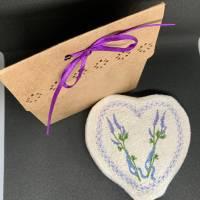 Lavendel-Duft-Herz  zum Knautschen aus schwarzem Leinen - Trostspender für Kranke / ältere Menschen Bild 4