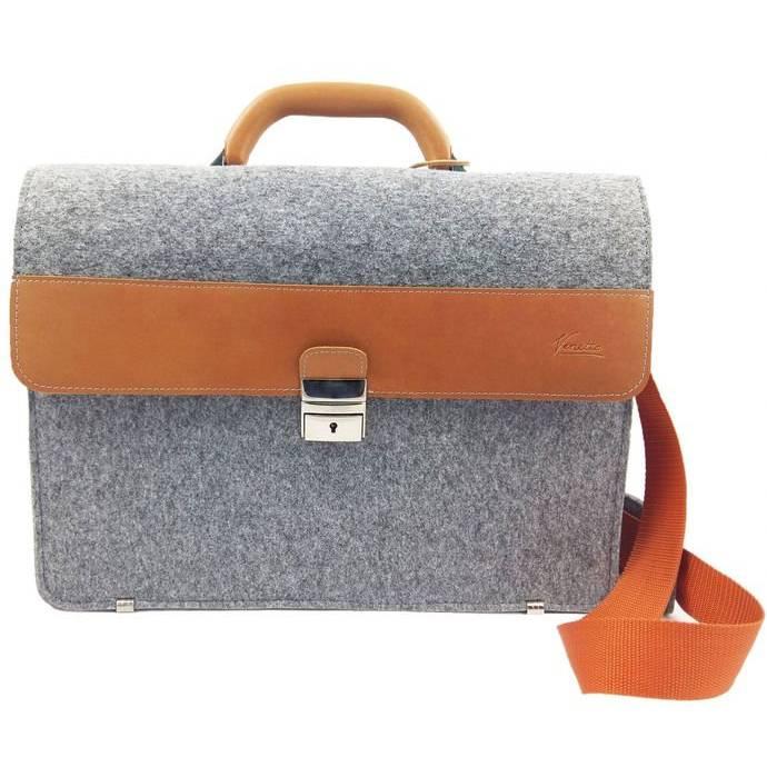 DIN A4 Aktentasche MacBook-Tasche Herren-Tasche Männer Tasche Filz,- Ledertasche Umhängetasche grau braun Bild 1