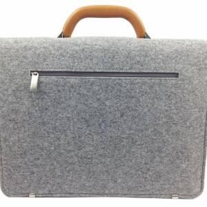 DIN A4 Aktentasche MacBook-Tasche Herren-Tasche Männer Tasche Filz,- Ledertasche Umhängetasche grau braun Bild 2