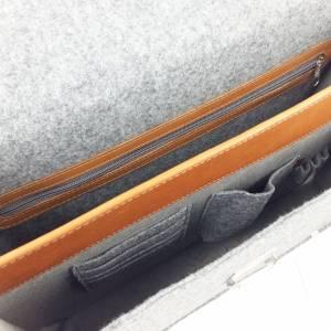 DIN A4 Aktentasche MacBook-Tasche Herren-Tasche Männer Tasche Filz,- Ledertasche Umhängetasche grau braun Bild 3