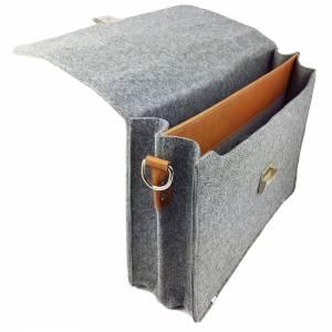 DIN A4 Aktentasche MacBook-Tasche Herren-Tasche Männer Tasche Filz,- Ledertasche Umhängetasche grau braun Bild 4