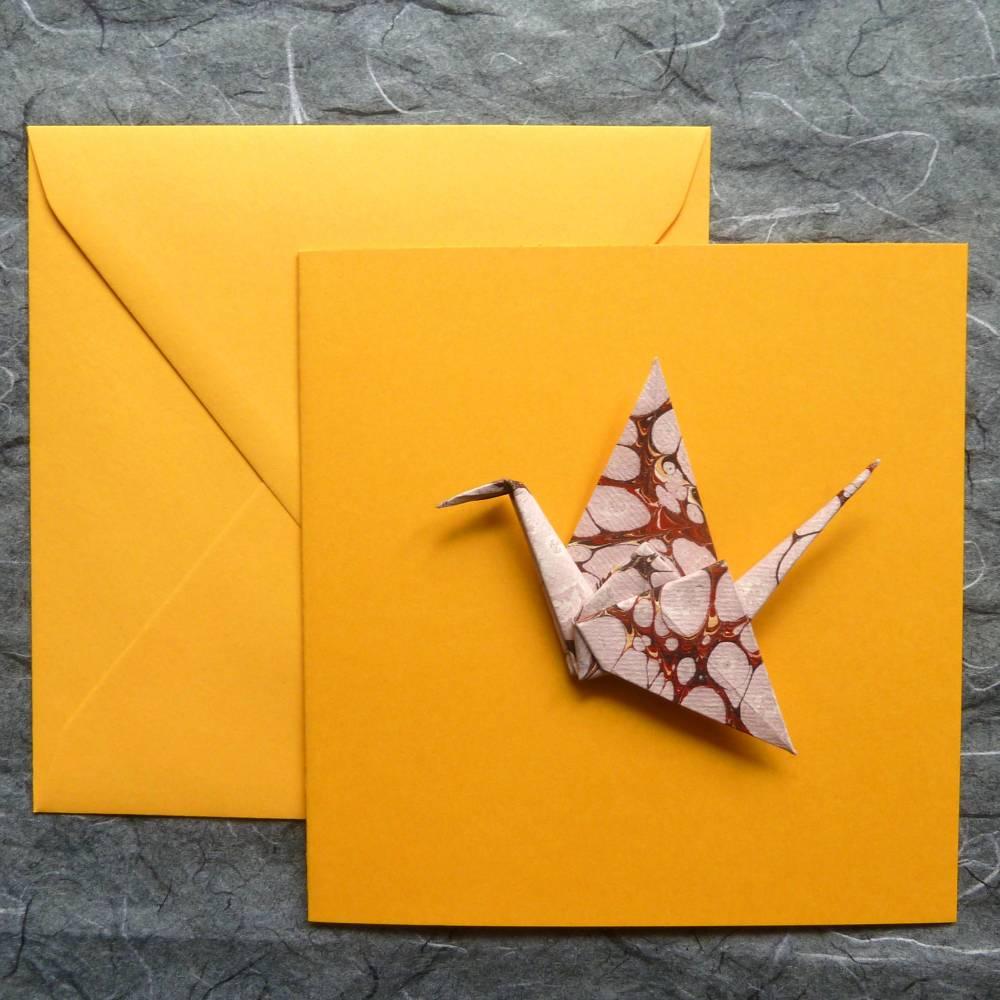 Minimalistische Glückwunschkarte mit Origami Kranich Bild 1