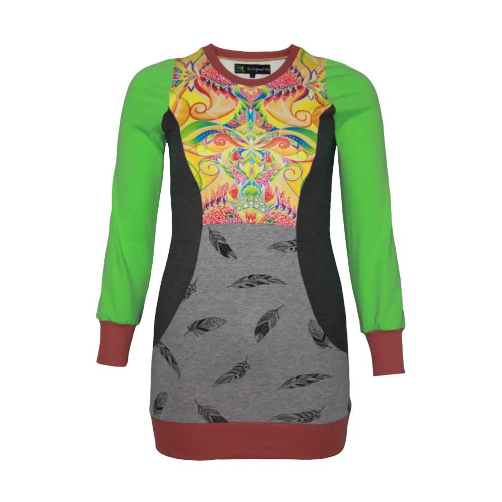 Farbenfroher Designer Pulli -Eco Fashion Art Print *Fische*grün/ Federn-100% Biobaumwolle -Sweatshirt Kleid Langarm Bild 1