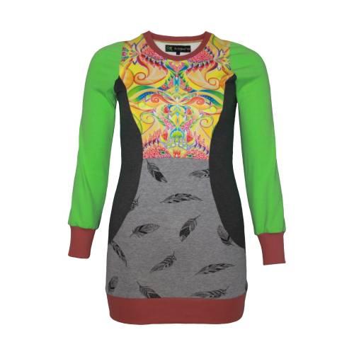 Farbenfroher Designer Pulli -Eco Fashion Art Print *Fische*grün/ Federn-100% Biobaumwolle -Sweatshirt Kleid Langarm