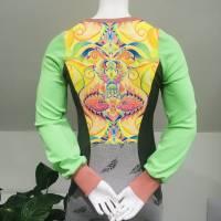 Farbenfroher Designer Pulli -Eco Fashion Art Print *Fische*grün/ Federn-100% Biobaumwolle -Sweatshirt Kleid Langarm Bild 4