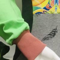 Farbenfroher Designer Pulli -Eco Fashion Art Print *Fische*grün/ Federn-100% Biobaumwolle -Sweatshirt Kleid Langarm Bild 6