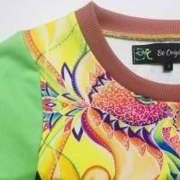 Farbenfroher Designer Pulli -Eco Fashion Art Print *Fische*grün/ Federn-100% Biobaumwolle -Sweatshirt Kleid Langarm Bild 8