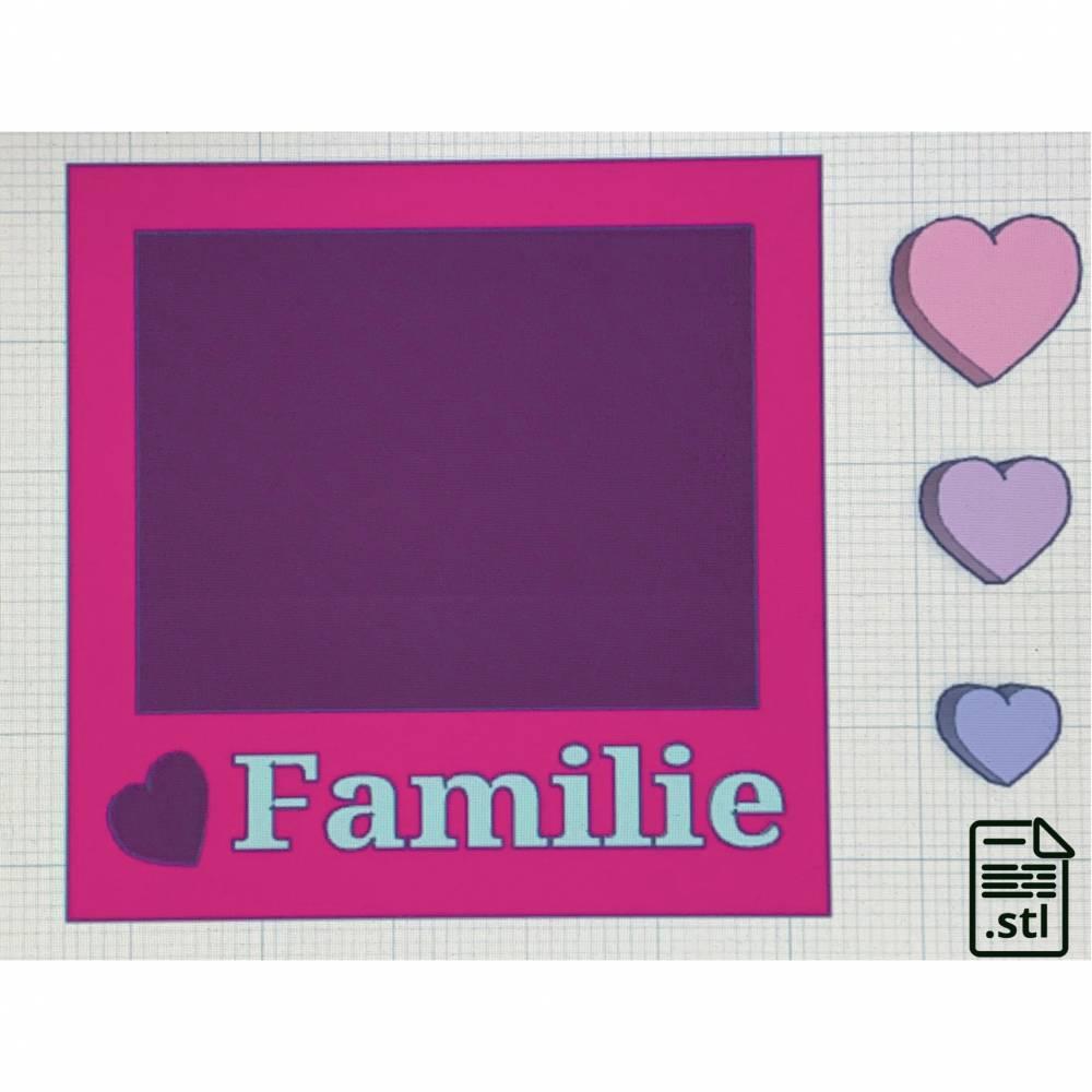 STL-Datei Shaker Fotorahmen mit Schriftzug Familie und Shaker Bits Herzen Bild 1
