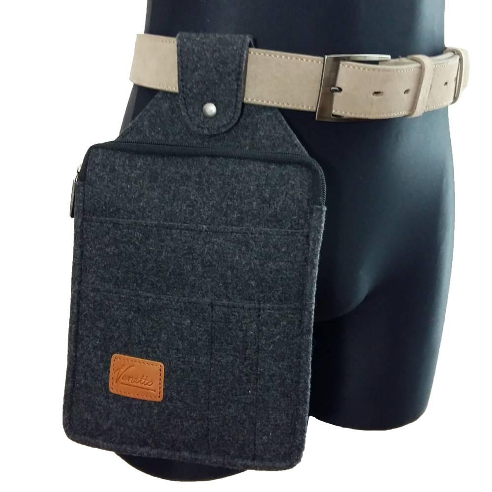 Multifunktions Gürteltasche Bauchtasche für Zuhause oder Arbeit Hüfttasche aus Filz, Schwarz meliert Bild 1