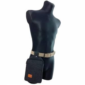Multifunktions Gürteltasche Bauchtasche für Zuhause oder Arbeit Hüfttasche aus Filz, Schwarz meliert Bild 2